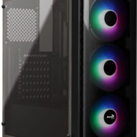 CAIXA AEROCOOL SI-5200 FIXED-RGB ATX, FRONT&SIDE WINDOW, 3x12CM FIXED-RGB FANS, WATERCOOLING